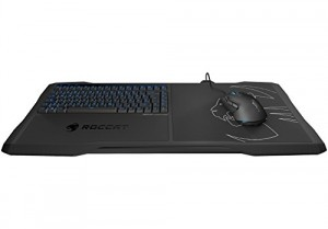 Roccat Sova Gaming Lapboard, Clavier et Mousepad (FR-Layout, Touches à Membranes, Anti-Ghosting, Hardpad 275 x 240 mm, Câble USB 4m) Noir